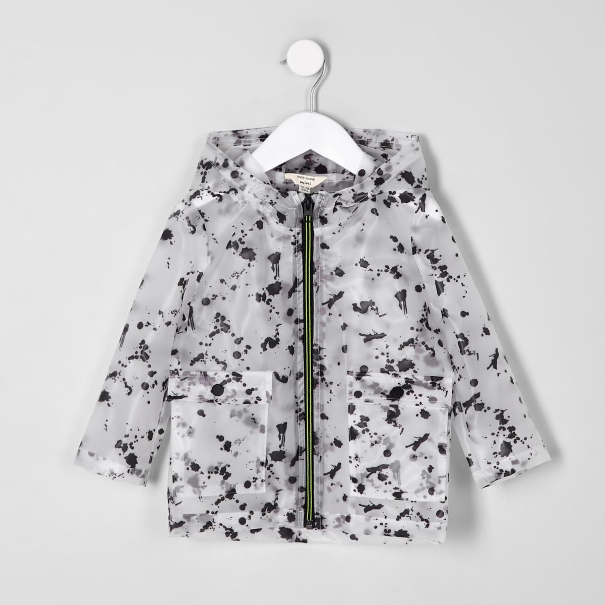 Mini boys black paint splat rain mac