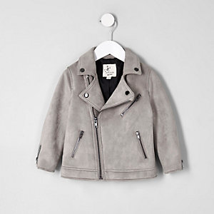 Mini boys light grey faux suede biker jacket