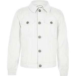 Boys white ripped denim jacket