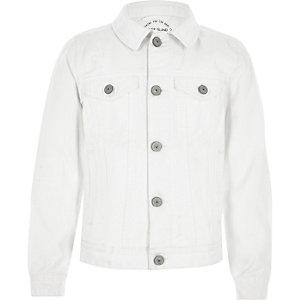 Veste en jean blanche déchirée pour garçon