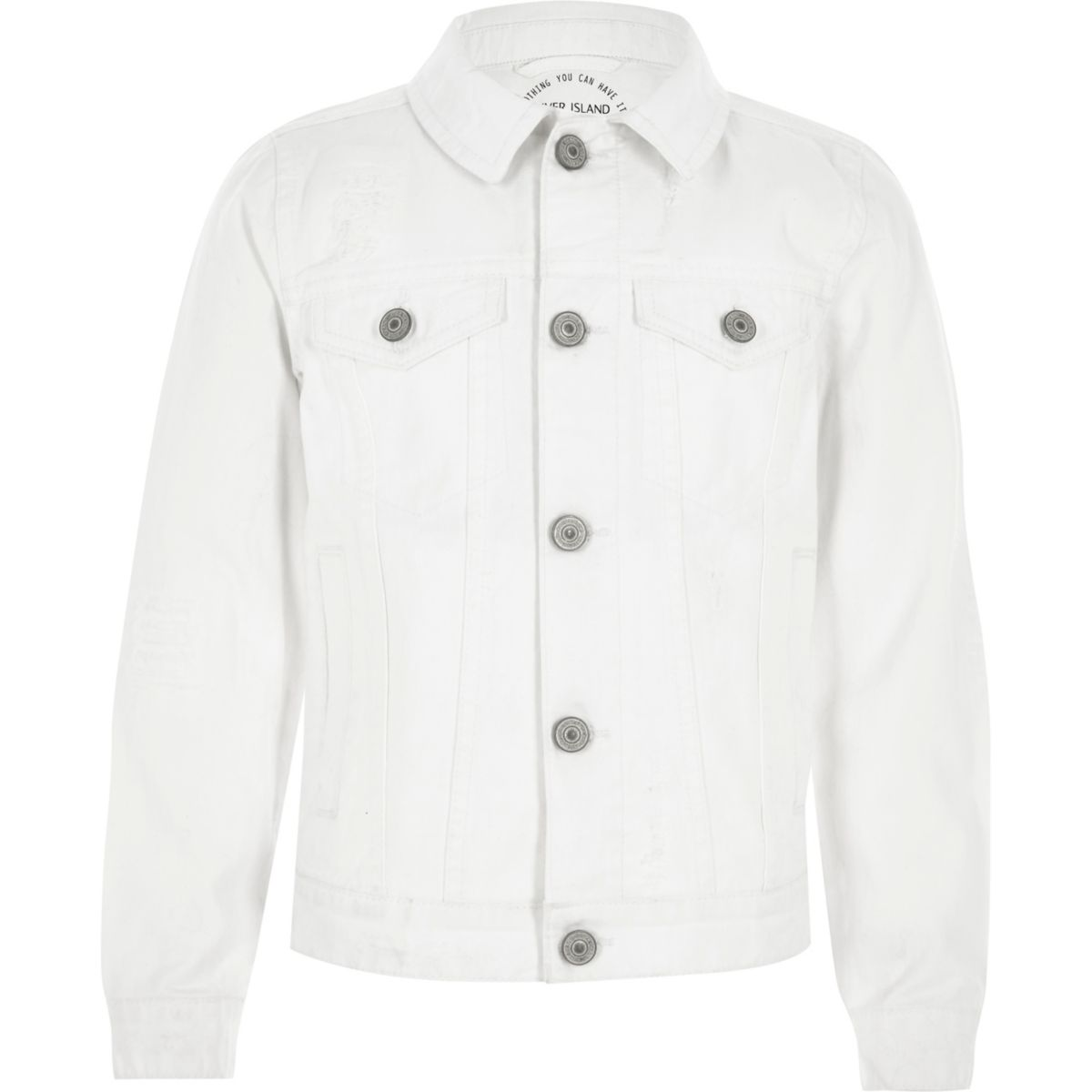 Boys white ripped denim jacket