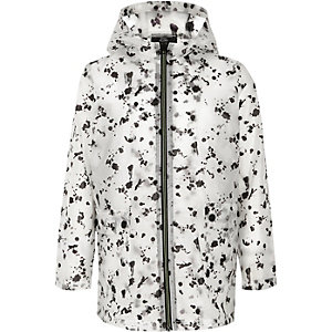 Boys black paint splat rain mac
