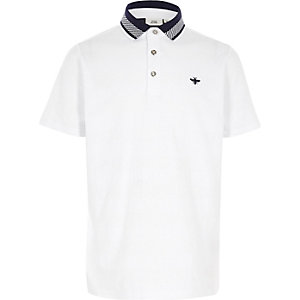 Boys white textured short sleeve polo shirt