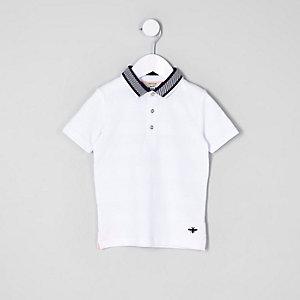 Mini - Witte polo met textuur en korte mouwen voor jongens