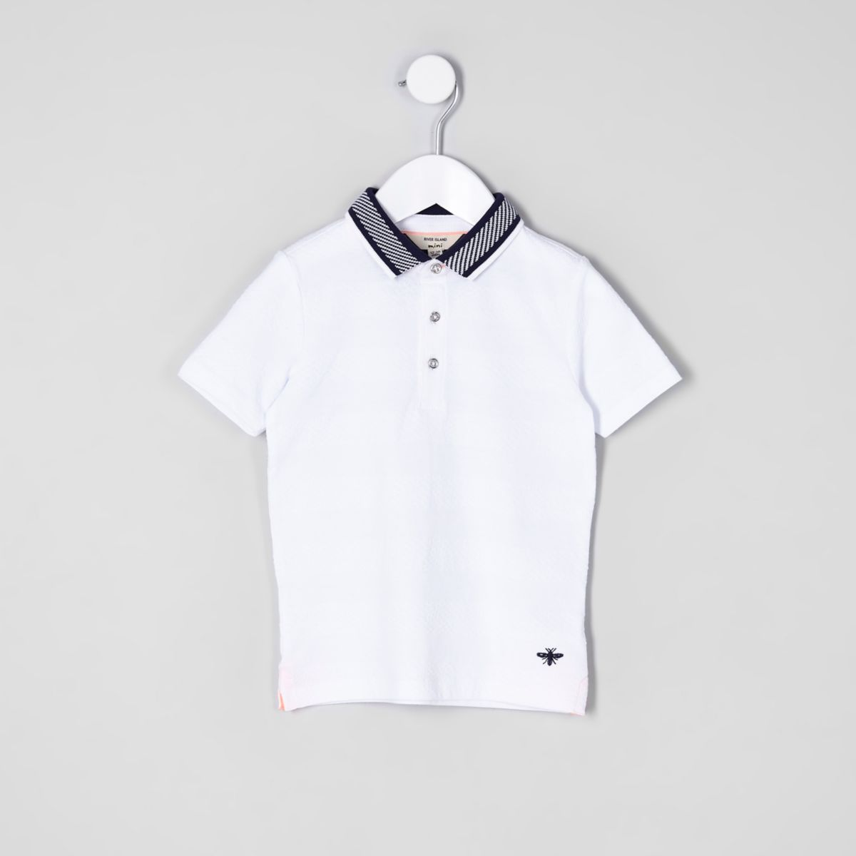 Mini boys white textured short sleeve polo