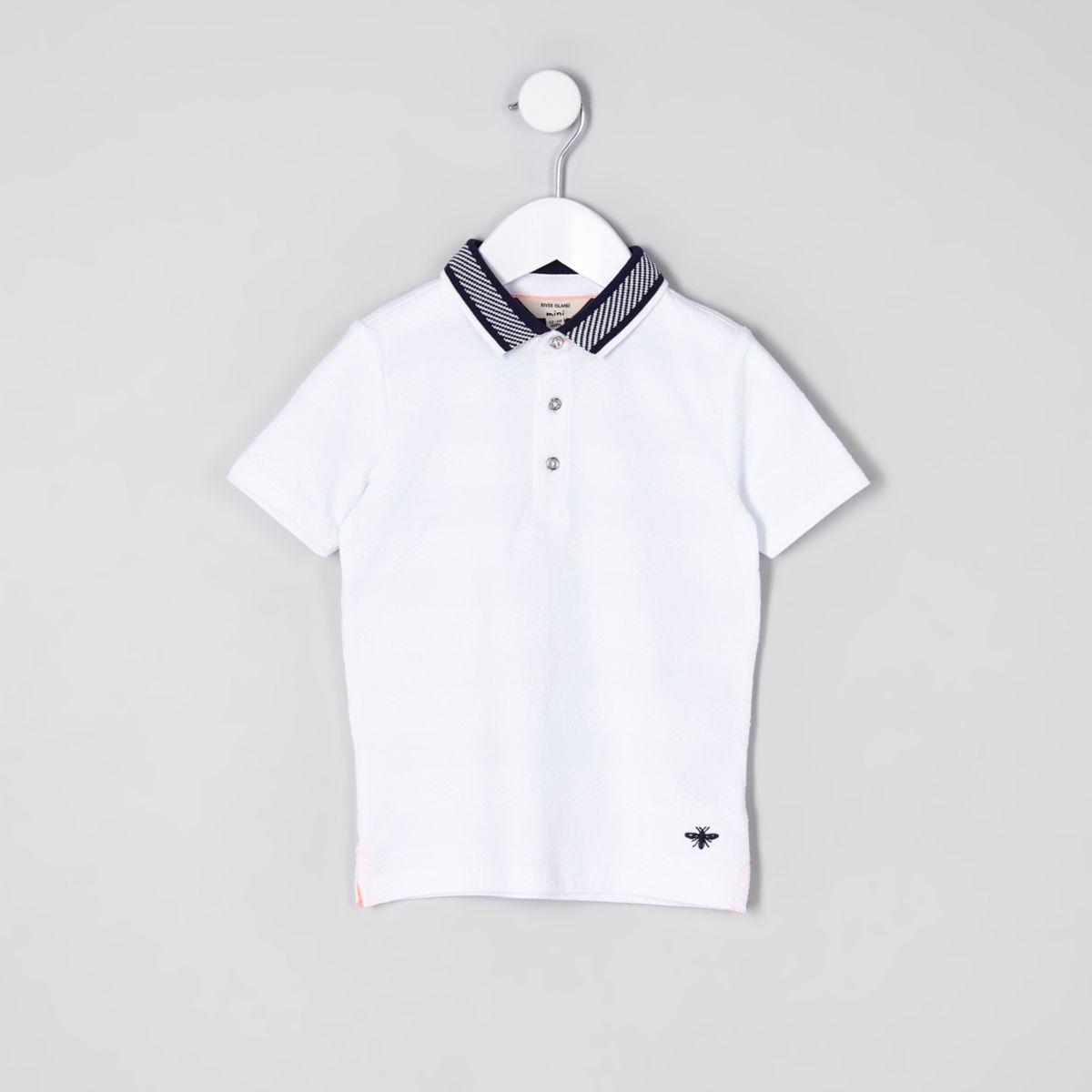 Mini boys white textured short sleeve polo