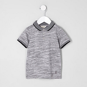 Mini boys grey space dye polo shirt