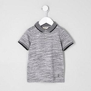 Mini boys grey space dye polo shirt