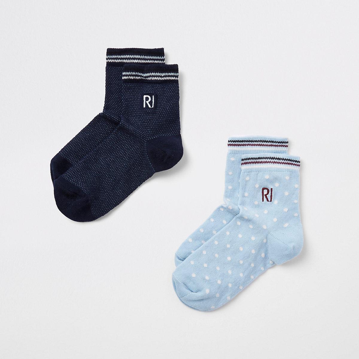 Boys navy spot 'RI' embroidered socks pack