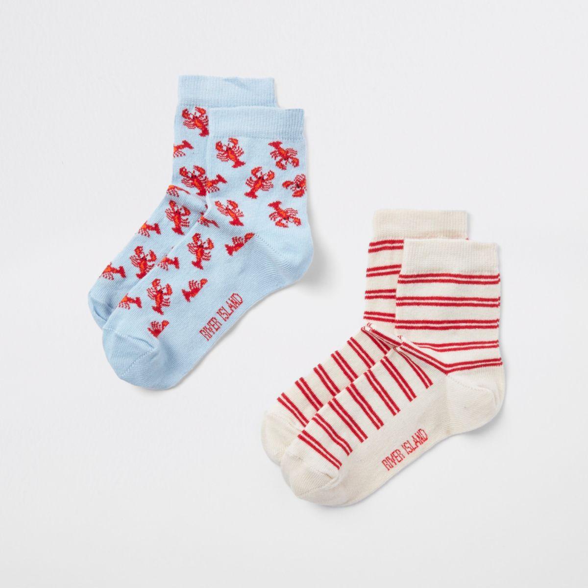Boys lobster print novelty socks multipack
