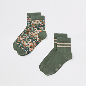 Boys green camo print socks pack
