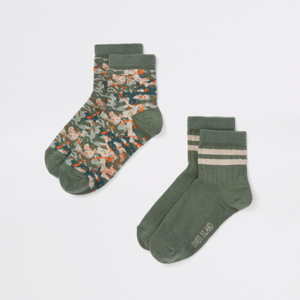 Boys green camo print socks pack