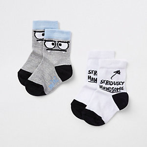 Mini - Set met witte sokken met 'Handsome'-print voor jongens