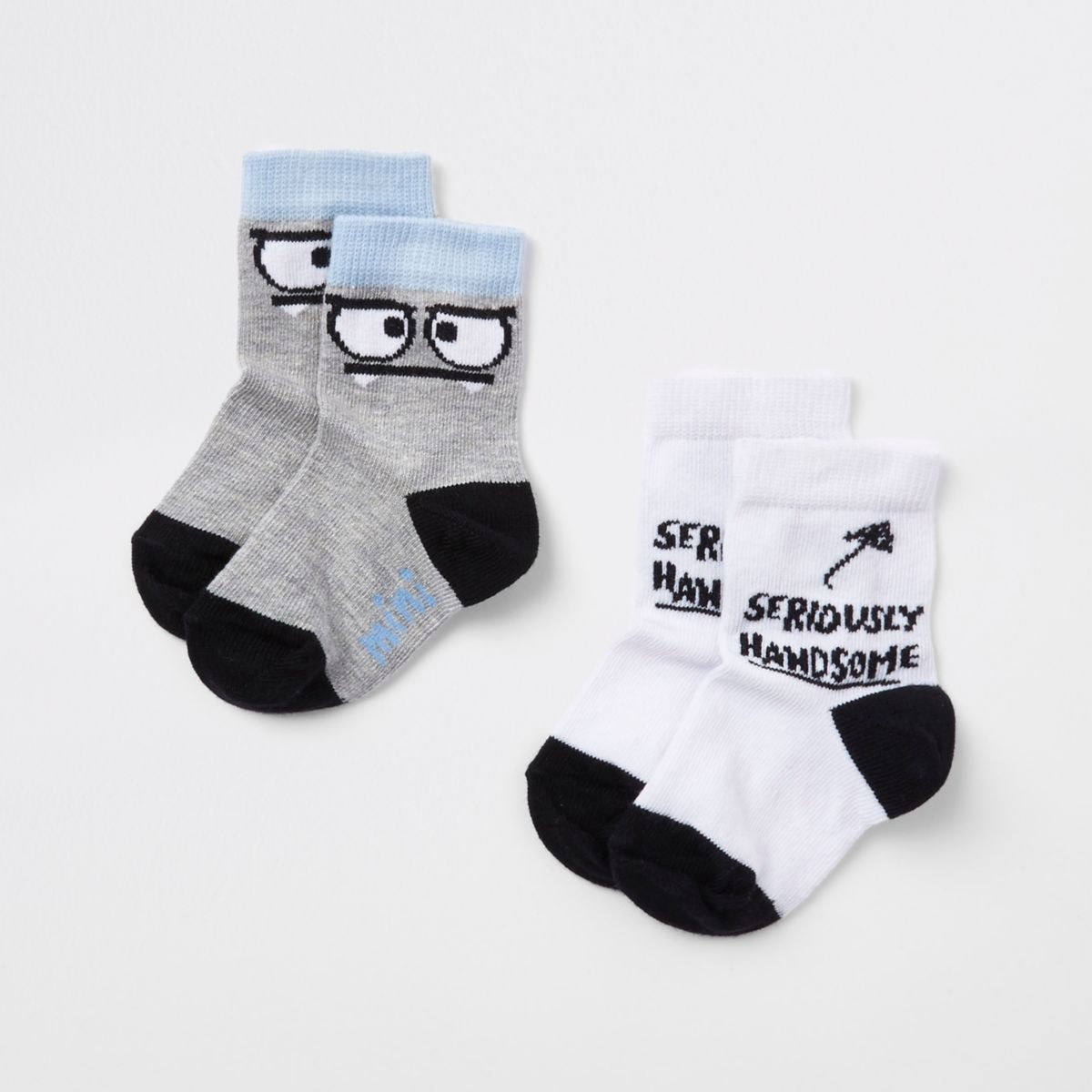 Mini boys white 'handsome' socks pack
