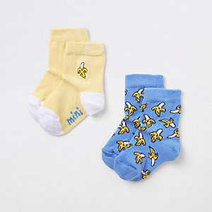 Mini boys yellow banana print socks pack