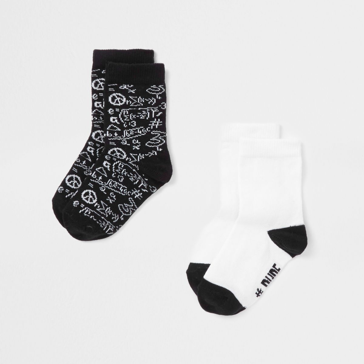 Mini boys black 'awesome dude' socks pack