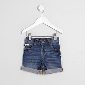 Mini boys Dylan blue rolled hem denim shorts