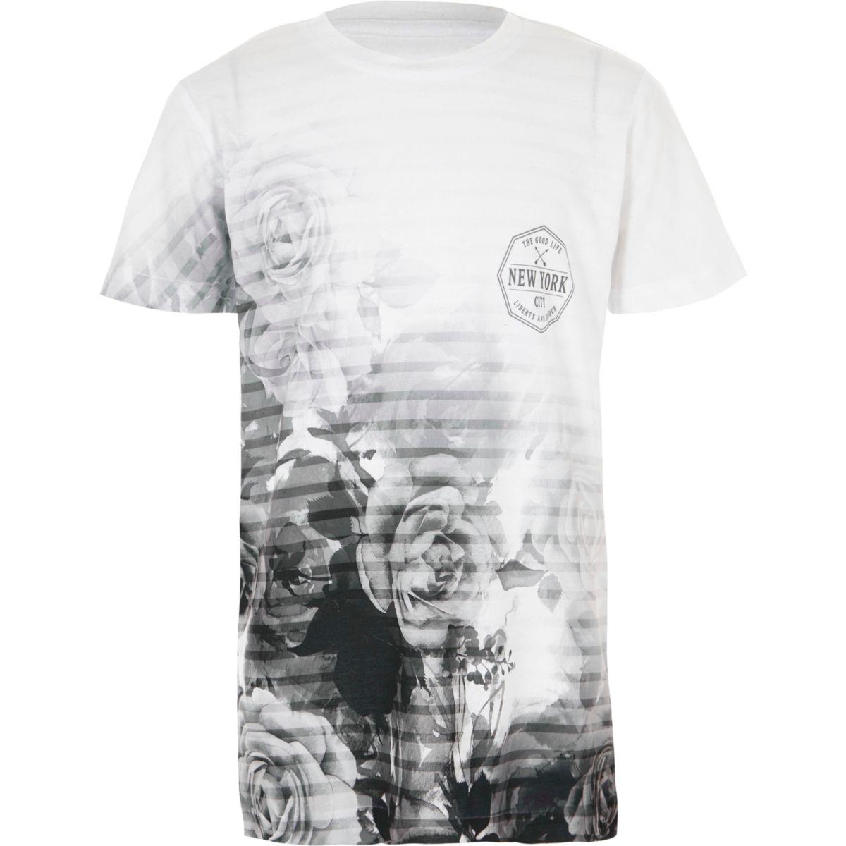 T-shirt à fleurs blanc délavé garçon