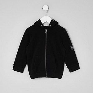 Mini boys black fleece zip up hoodie