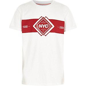 T-shirt imprimé color block «NYC» blanc pour garçon