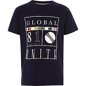 Marineblauw T-shirt met 'global 81'-print voor jongens
