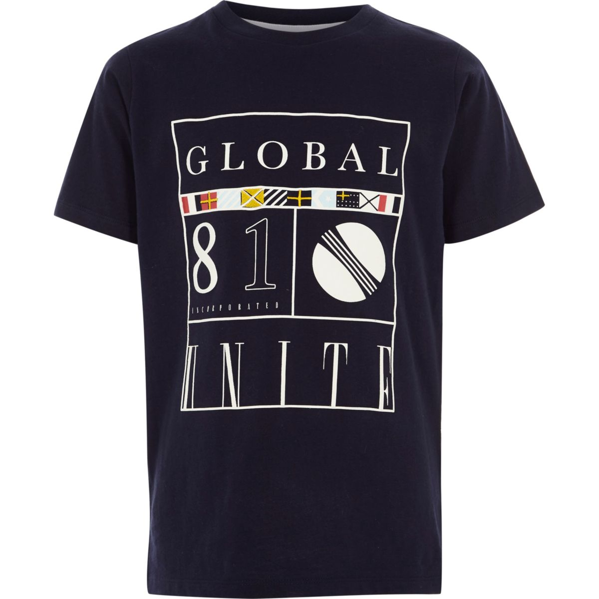 Boys navy 'global 81' print T-shirt