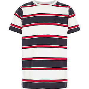 T-shirt rayé rouge à broderie «brnx» pour garçon