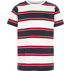 Rood gestreept geborduurd hemdje met 'brnx-print voor jongens