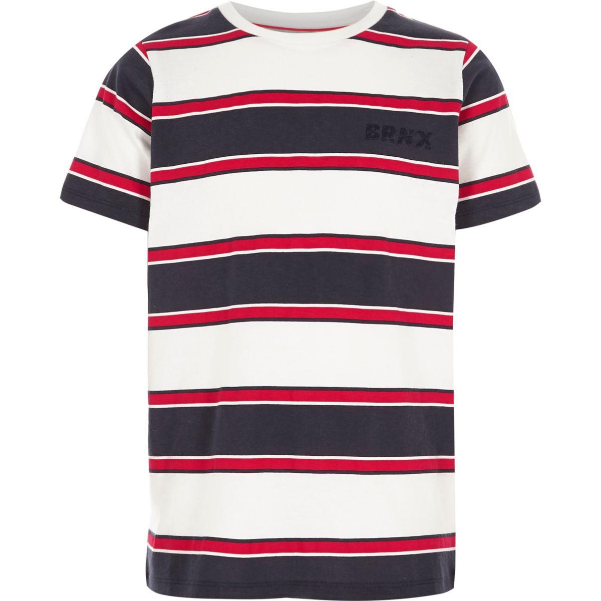 Boys red stripe 'brnx' embroidered T-shirt