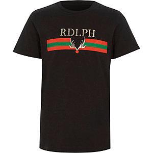 Zwart kerst-T-shirt met 'Rdlph'-print voor jongens
