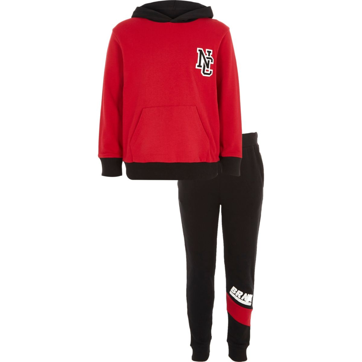 Boys red and navy hoodie joggers outfit