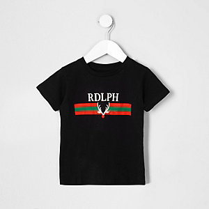 Mini boys black 'Rdlph' Christmas T-shirt