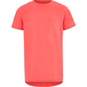 Boys coral fluro pocket short sleeve T-shirt