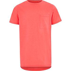 Felkoraalrood T-shirt met borstzak en korte mouwen voor jongens