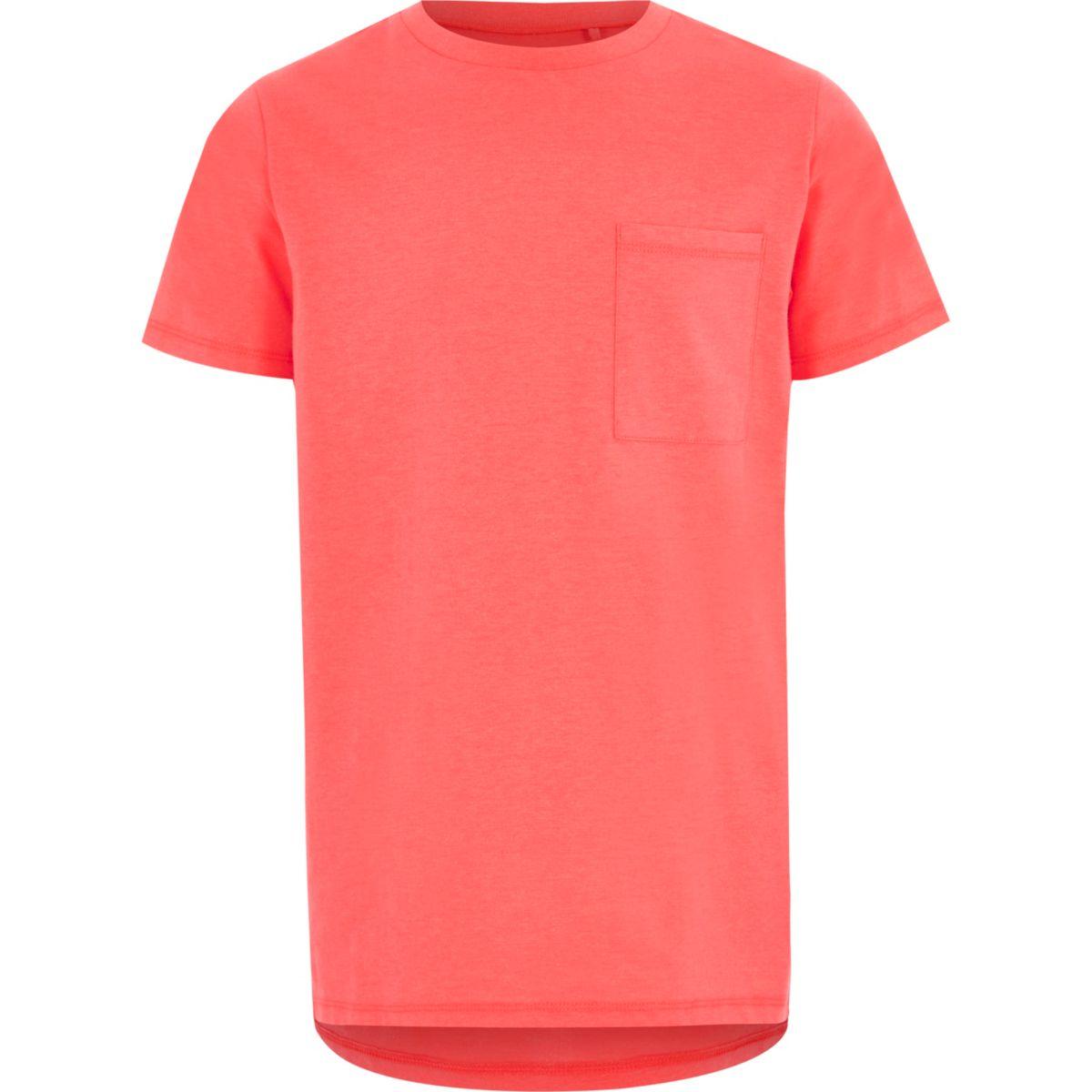 Boys coral fluro pocket short sleeve T-shirt