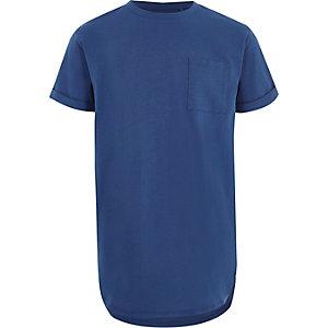 Boys blue curved hem longline T-shirt