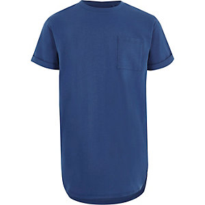 Blauw lang T-shirt met ronde zoom voor jongens