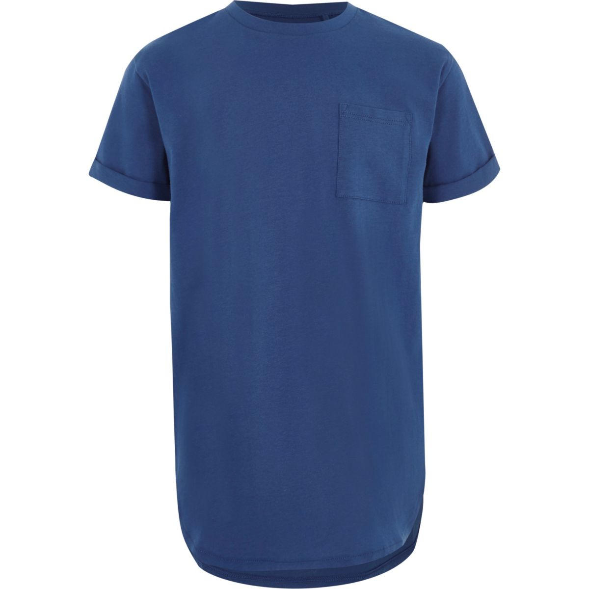 Boys blue curved hem longline T-shirt