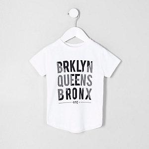 Mini - Wit T-shirt met 'Brklyn'-print voor jongens
