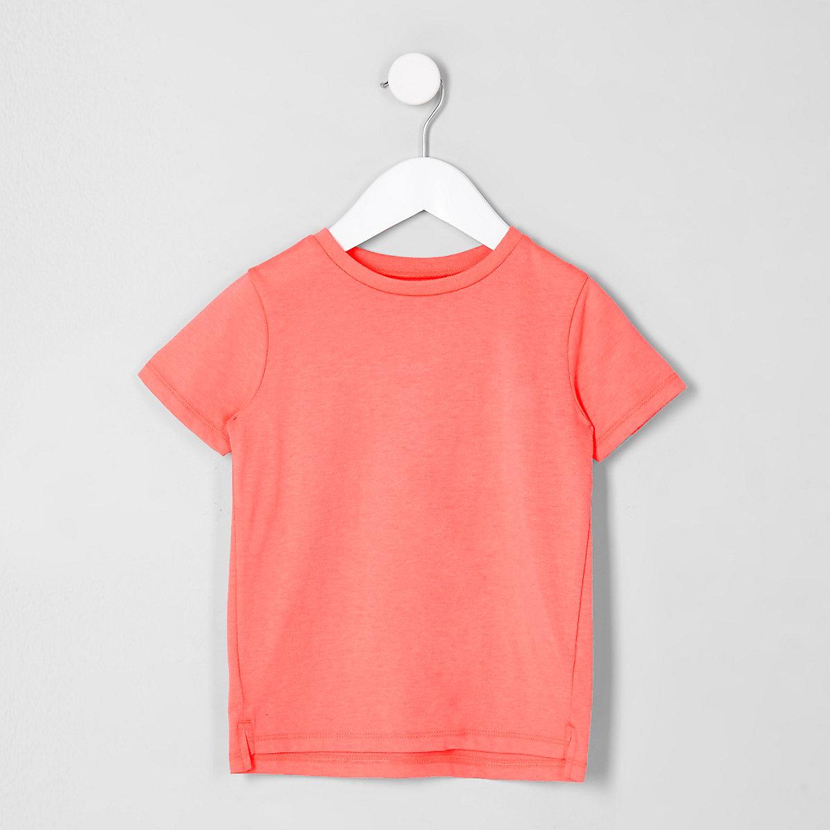 Mini boys coral pink short sleeve T-shirt
