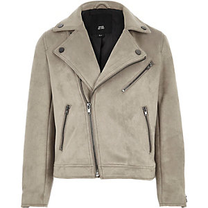 Boys light grey faux suede biker jacket