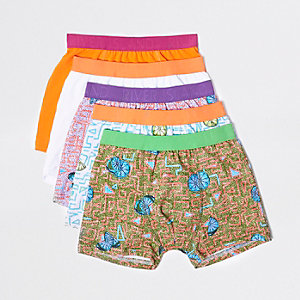 Boys orange lime print boxers multipack