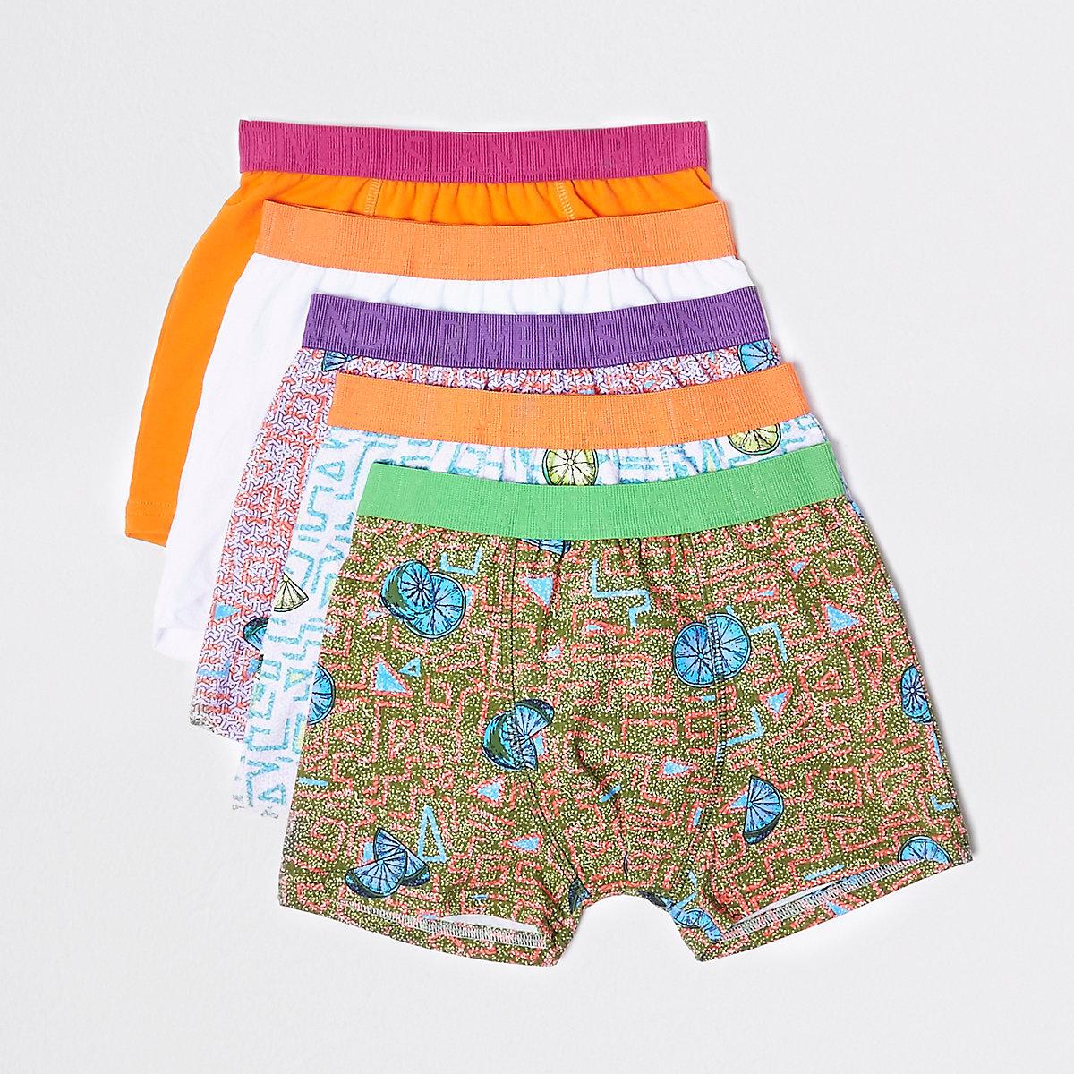 Boys orange lime print boxers multipack