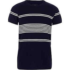Marineblauw gebreid T-shirt met strepen voor jongens