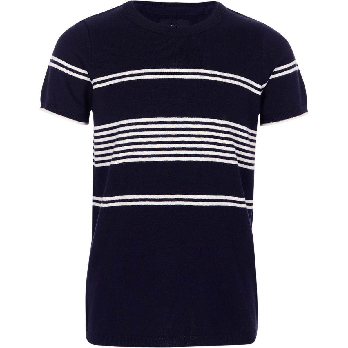 Boys navy stripe knitted T-shirt