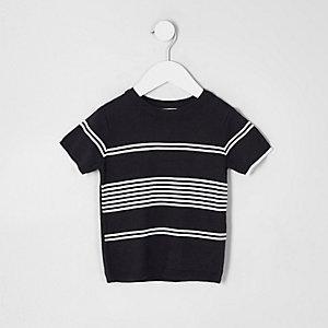 Mini boys navy stripe knitted T-shirt