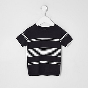 Mini - Marineblauw gestreept gebreid T-shirt voor jongens