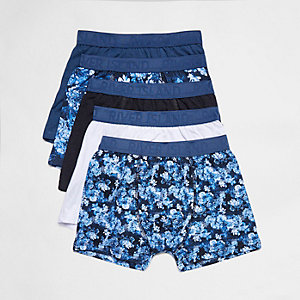 Boys blue floral trunks multipack