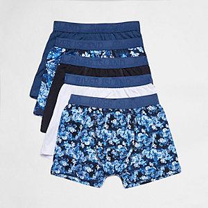 Multipack blauwe boxershorts met bloemenprint voor jongens