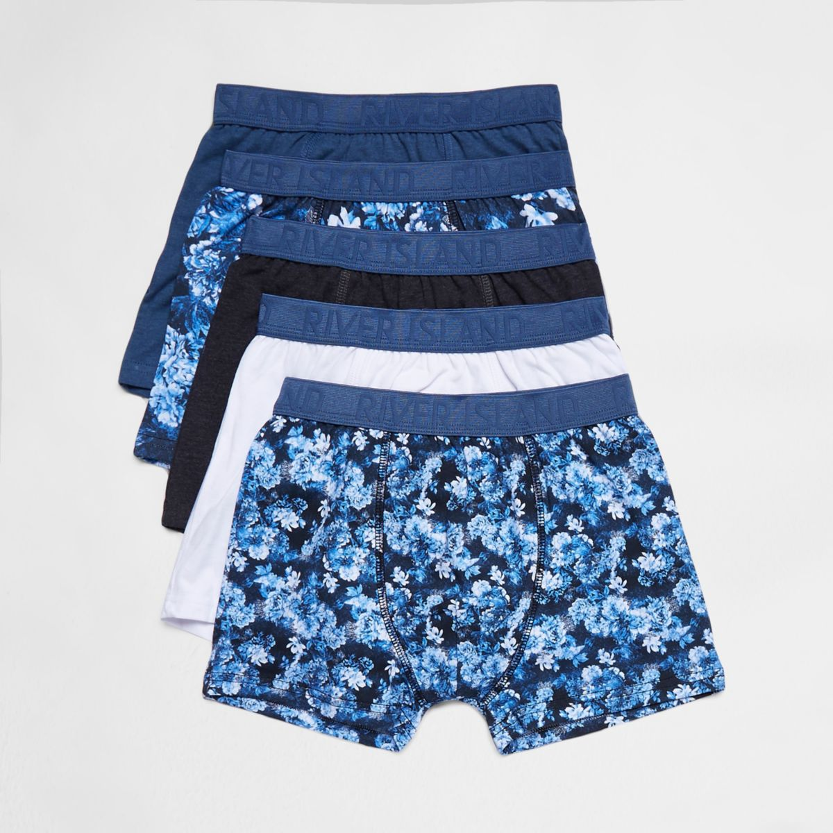 Boys blue floral boxers multipack